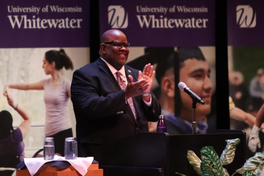 Chancellor Watson cheers on faculty and staff member accomplishments awarded during the State of the University address.