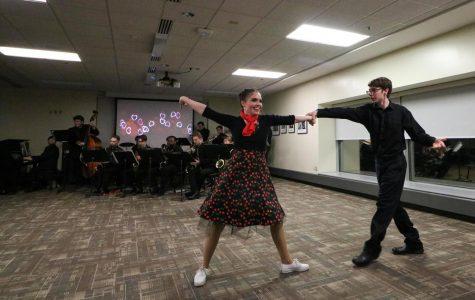 University of Wisconsin-Whitewater students Sarah Keller and Brady Janquart dance to the Wisconsin Jazz Educators Network.