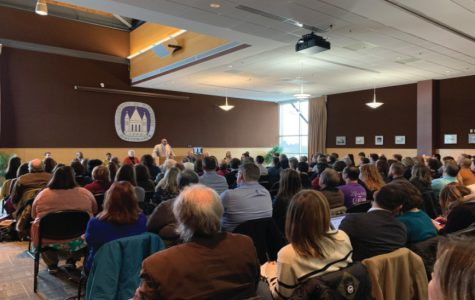 Faculty and students observe Chancellor Watson's listening session for commentary pertaining to the UW-W budget changes.