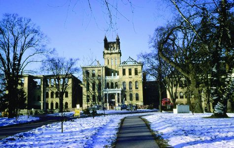 Old Main sits  vacant in the days following the Feb. 7, 1970 blaze which destroyed 28 classrooms throughout the Central, North and West portions of the structure. 19 rooms were also damaged in the East Wing (Hyer Hall) via water and smoke damage.