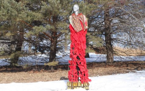 The Stolen Sisters sculpture, located between the Center of the Arts and UW-Whitewater's Observatory, depicts the names of some missing indigenous women.