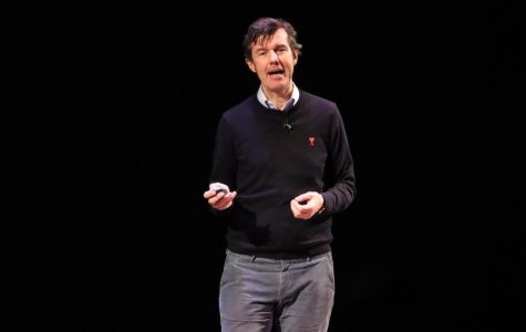 Stefan Sagmeister speaks on the importance of beauty at Young Auditorium.