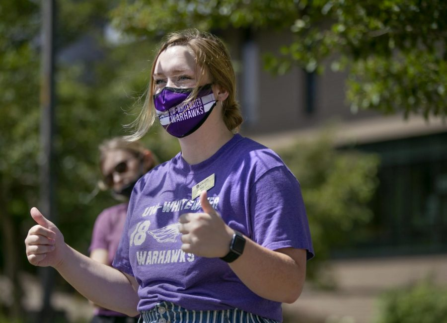 Ashley Peterson, a communication sciences and disorders major from Genoa, Illinois, leads a tour.  UW-Whitewater admissions staff visited with incoming and prospective students and their families and guided small tour groups around campus on Thursday, July 16, 2020.