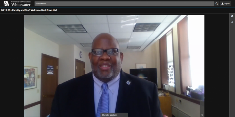 Chancellor Dwight Watson welcomes Warhawks back to campus during an online town hall event August 19.