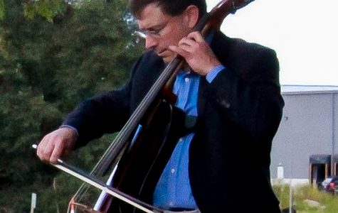 """Music professor Benjamin Whitcomb performs """"Bach Suites for Cello"""" by Johann Sebastian Bach at the UW-Whitewater Innovation Center on Friday, Sept. 18."""