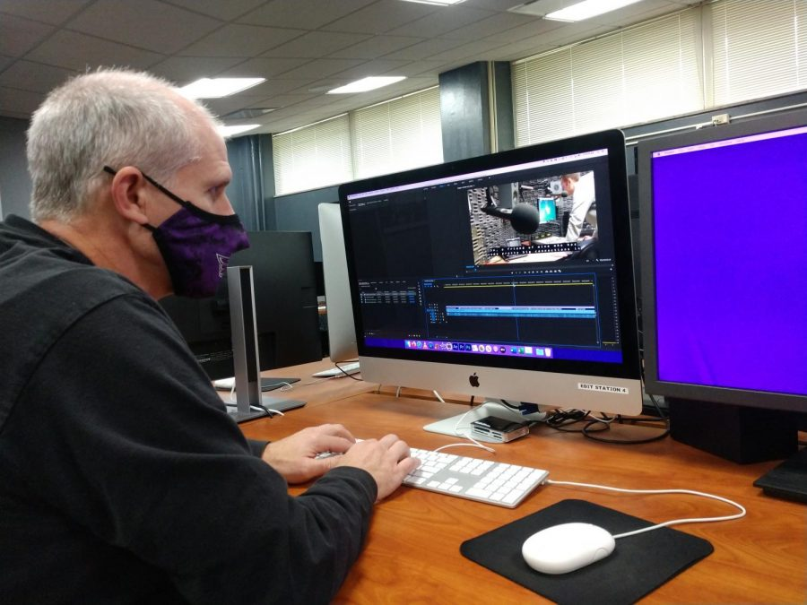UWW-TV adviser Jim Mead adds closed captioning to a video clip for the hearing impaired.