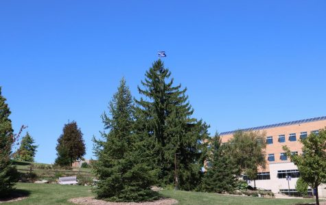 A campaign flag was placed at the top of an evergreen tree near Hyland Hall on the University of Wisconsin-Whitewater campus on Wednesday. Sept. 2.