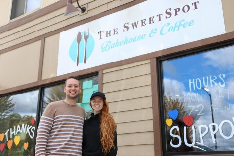 Elena Schleusner and Jacob Gildemeister, new Owners of both the Sweetspot Bakehouse and Sweetspot Cafe stand outside their business for a photo on Friday Sept. 18 in Whitewater Wisconsin.