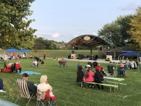 Attendees enjoy a musical performance at the opening of the Frawley Family Cravath Lakefront Amphitheater Thursday, Sept. 17.