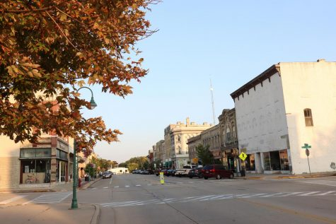 Along Main Street in downtown Whitewater leaves on a few trees are beginning to change colors.