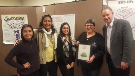 Daniela Porras, Nayeli Govantes Alcantar and Emily Rodriguez won the Gold Award for the best LEAP plan in Jan. 2019. From the left to the right: Daniela Porras, Nayeli Govantes Alcantar, Emily Rodriguez, Annie Stinson, Interim Provost Greg Cook. - Dr. Annie Stinson