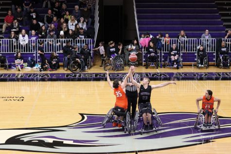 The opening Tip-off during a UW-Whitewater Men's Wheelchair basketball game vs Illinois, in November 2019.