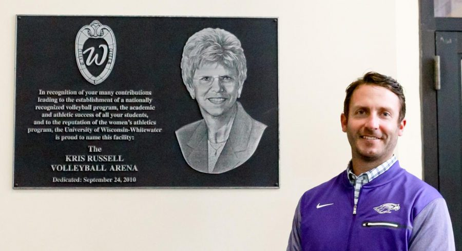 Next to the dedicated volleyball courts and plaque for Kris Russell, Ryan Callahan, the Interim Director of Intercollegiate Athletics, celebrates 50 years of WIAC Woman's sports.