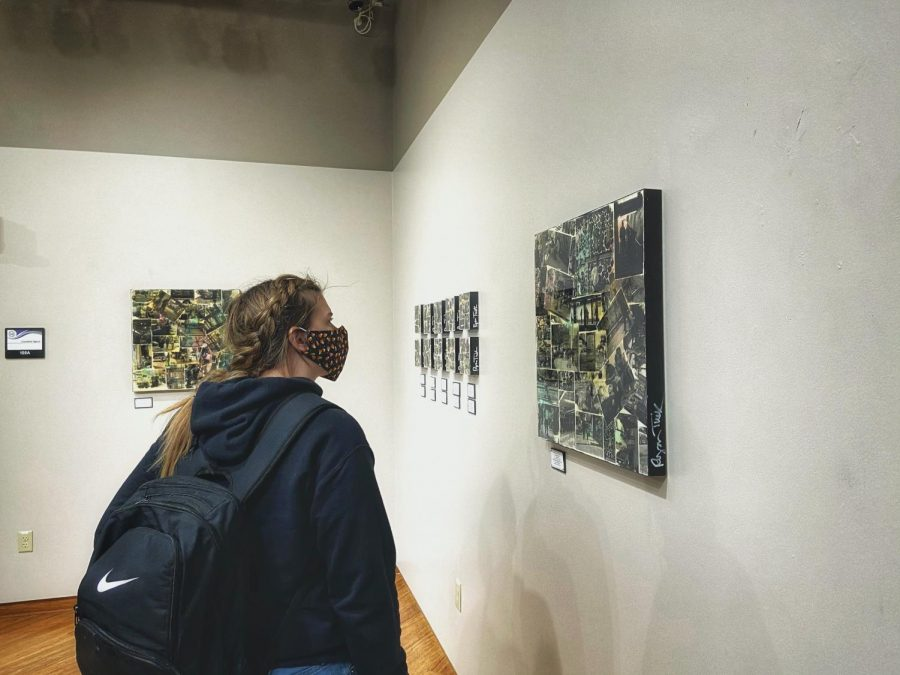 Nichole Learman stares at the Street Scenes by artist Ryan Tucker in the University Center on Campus - Kylie McCombe