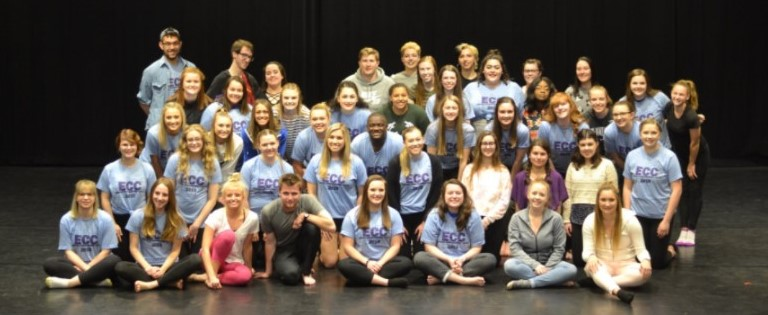 The UW-W Dance Company takes a group photo to remember the  moment at the 2019 Emerging Choreographers Concert.
