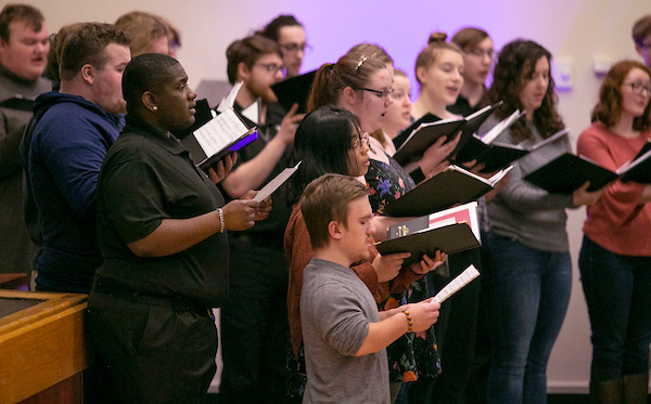 Combined choirs from the UW-Whitewater music department sing the Black National Anthem,