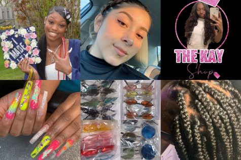 (Left to right) Freshman Darreahn Smith and one of her favorite nail sets. Freshman Jocelyn Sanchez-Ortiz and her orders of sunglasses. Freshman K'Hira Bonds-Hunt featured in her business logo and a picture of her finished box braids service.