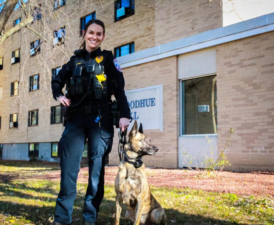 Officer Kelsey Servi and Truus work together to keep our campus safe! Truus is an explosives detection and tracking K9, so you'll most likely see her doing safe sweeps at large UW-W events.