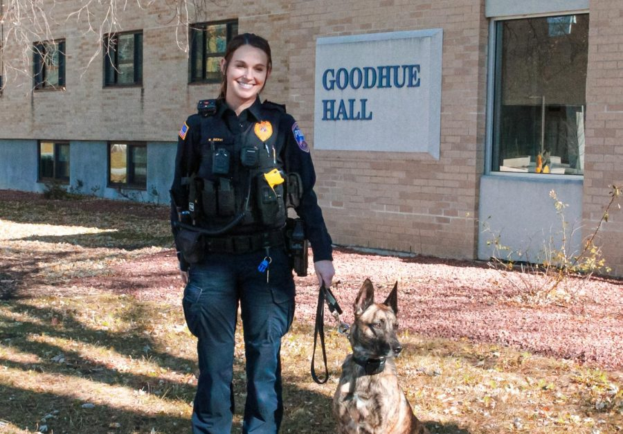 UW-W Police K-9 Officer Kelsey Servi and her dog Truus keep watch outside Goodhue Hall Nov. 12.