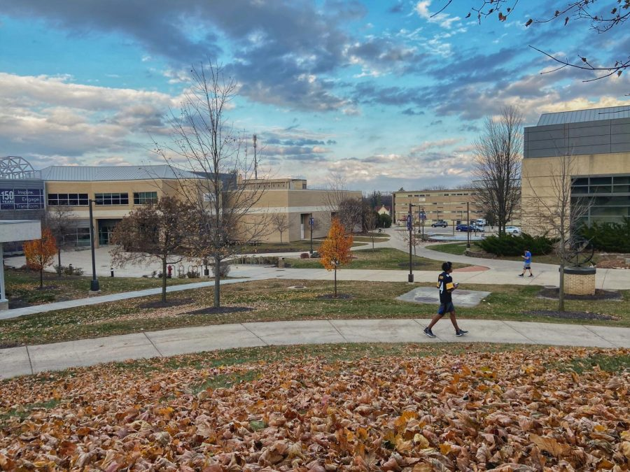 Students walk along the sidewalks near the James R. Conner University Center Nov. 14.