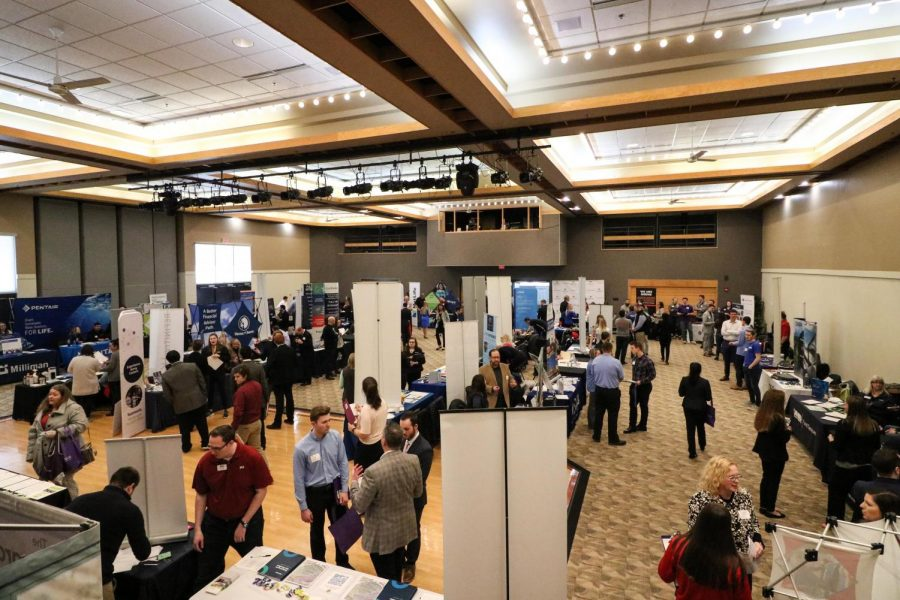 The 2020 spring hawk career fair took place inside the Hamilton Room at the James R. Connor University Center in February 2020.