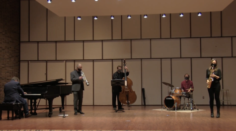 "From left: Faculty Jazz Ensemble members Robert Hodson, Michael Hackett, Bradley Townsend, Devin Drobka and guest artist Sharel Cassity perform during a Music Mosaics Tribute to Charlie ""Yardbird"" Parker."