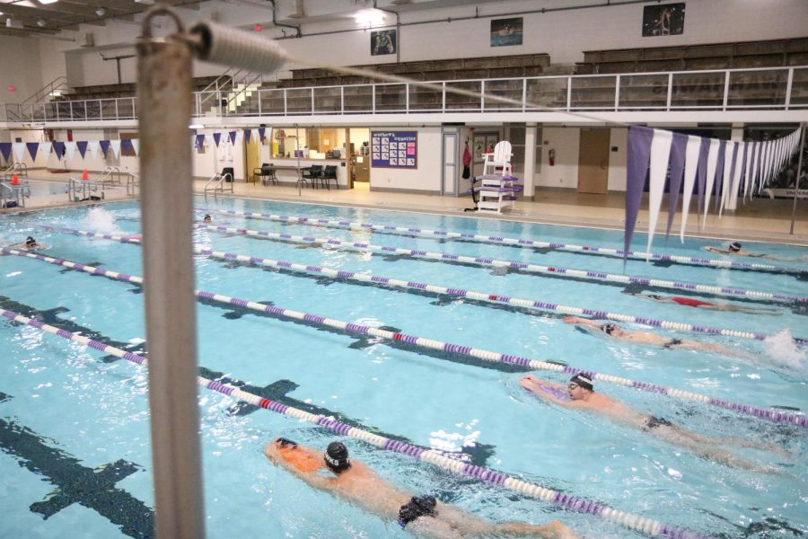 Members of the UW-Whitewater women's and men's swimming and diving team make their way across the Williams Center Pool during a team practice on Nov. 6.