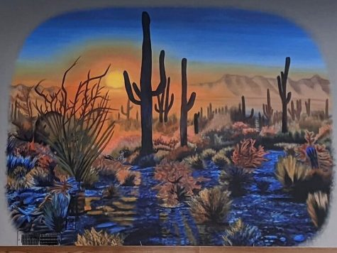 "A close look at an art piece called ""Saguaro National Park"" is being shown in the Hello from Harta art exhibit at the Whitewater Arts Alliance through Jan. 31. The full mural is a featured installation at New Generation RV in Burlington, Wisconsin."