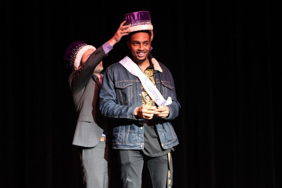 UW-W senior Purcell Pearson is crowned Homecoming King Oct. 11, 2019.