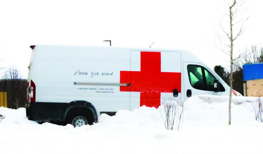 The Red Cross truck parks outside the Whitewater Community Engagement Center welcoming donations Feb. 10.