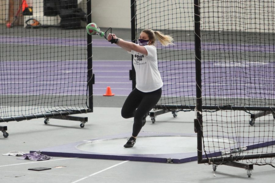 Freshman Kenni Czarnecki competes for UW-Whitewater in the weight throw, during the warhawks track & field meet against UW-Oshkosh Saturday Feb. 13.