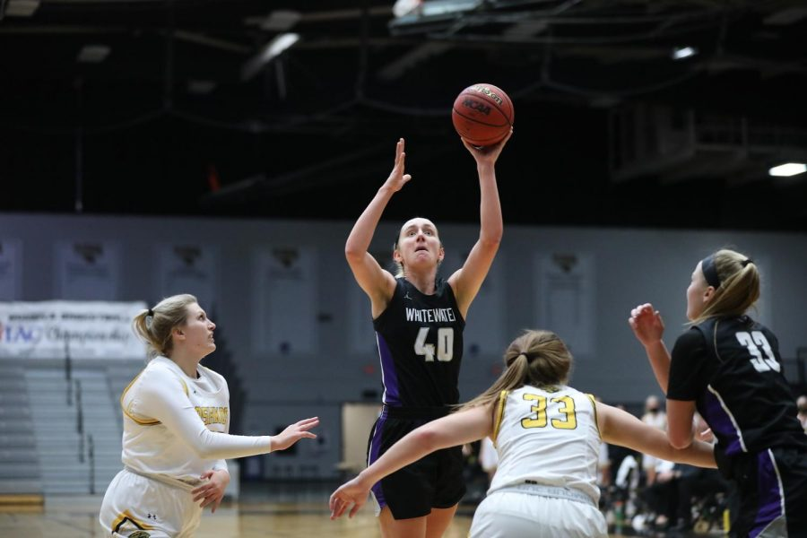 UW-Whitewater senior center Johanna Taylor (40) goes up for a shot during the Warhawks' matchup against the UW-Oshkosh Titans in the WIAC Tournament Championship game, Friday, Mar. 5.