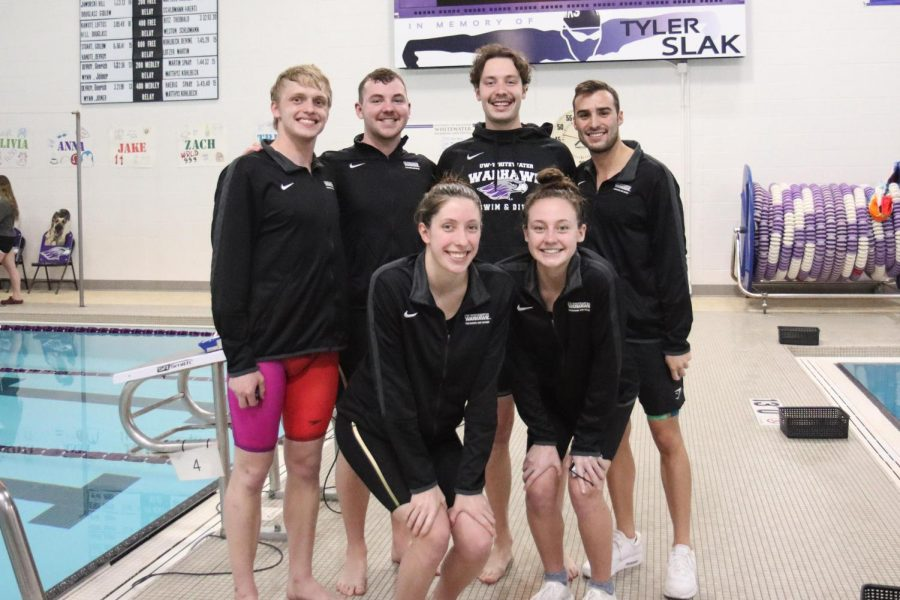 UW-Whitewater men's and women's swimming and diving seniors were celebrated on senior day during the warhawks meet against UW-La Crosse, Saturday March 6. From left to right: Tristan Whiting, Zach Noll, Anna Yeazel, Jack Herlache, Skyler Budny, Tyler Chatterton and Olivia Theobald (not pictured).