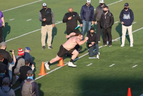 Representatives from NFL teams were at Perkins Stadium to observe Quinn Meinerz as he completed various agility drills during the Pro Day.