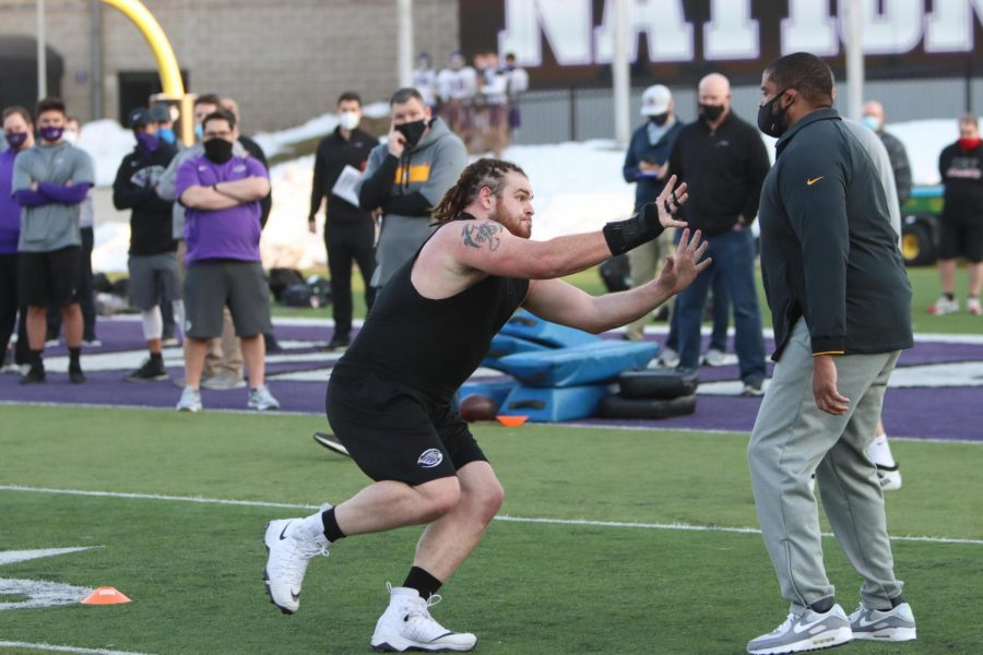 Quinn Meinerz worked out during the pro day with former UW-Whitewater offensive lineman Nate Trewyn and former UW-River Falls wide receiver Alex Herink, Trewyn spent time on the Tampa Bay Buccaneers active roster in 2019.