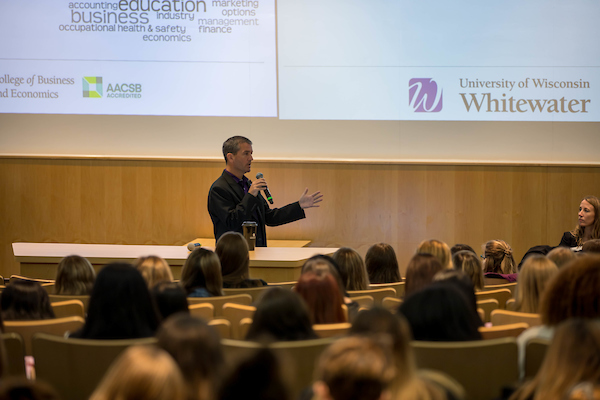 John Chenoweth, Dean of the college, speaks to students. Every year the College of Business and Economics hosts Woman in Business Day, an event for high school students to learn about careers and opportunities in business. The event took place on Oct. 18, 2019. (UW-Whitewater photo/Nick Pook)