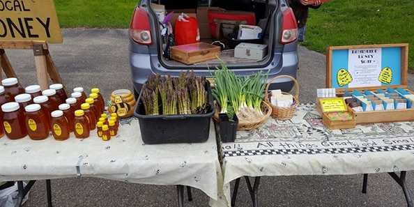 A vendor at the Whitewater City Market is all set to sell honey, asparagus, onions and more to the local community.