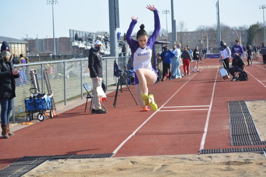 Sophomore Nikolina Mijatovic competes in the long jump for the Warhawks during the Rex Foster Twilight meet at Foster Track