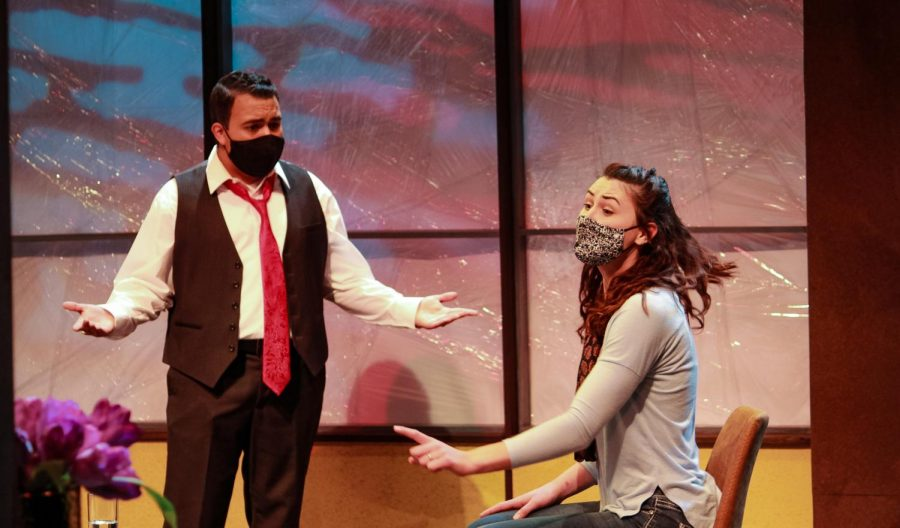 "Beginning Tuesday. April 27, watch Michael Garcia (left) and Erica Wright (right) step into their roles as Alan Raleigh and Veronica Novak in UW-W's production ""God of Carnage."""