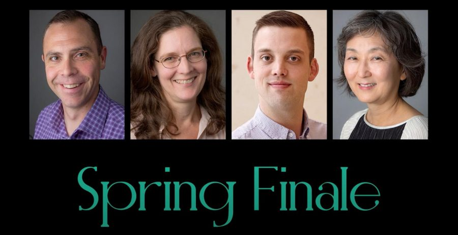 Faculty/staff performing in the Spring Finale are (from left to right) Mike Dugan, Leanne League, Matthew Onstad, and Myung Hee Chung.