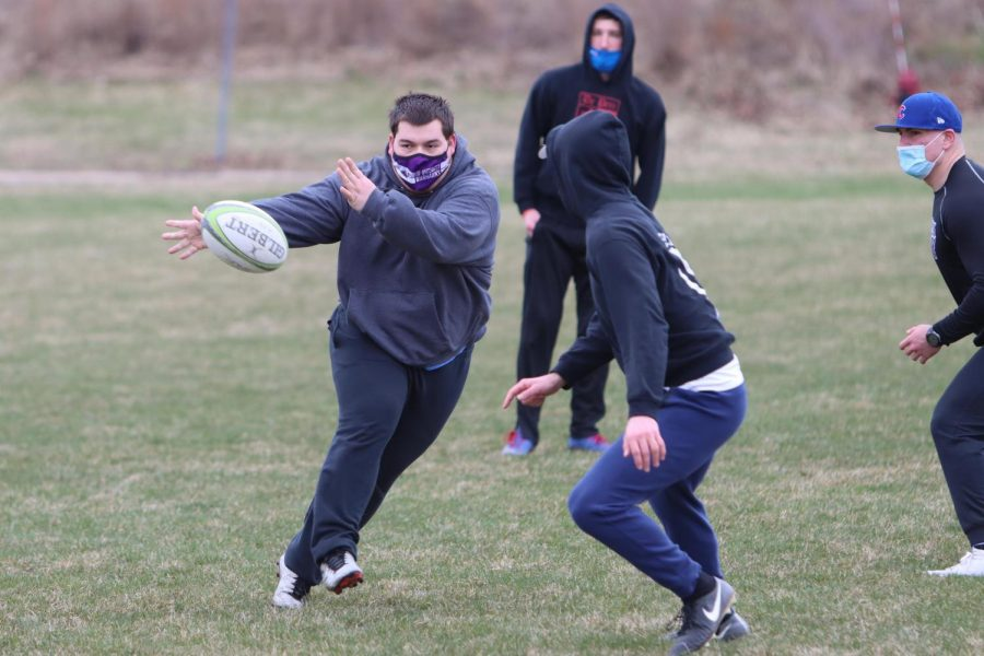 UW-Whitewater men's rugby club practice Wednesday March 31.