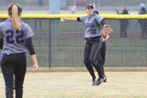 Vera Pflugradt (10) is a senior outfielder on the UW-Whitewater women's softball team.