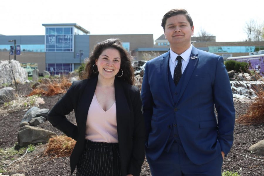 Whitewater Student Government President elect Davin Stavroplos (right) and Vice President elect Allyson Weisbrod stand for a photo outside Minneiska Springs near the University Center.