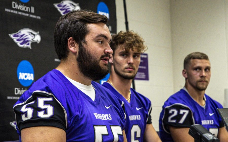 """""""I'm just looking forward to playing,  said senior offensive lineman Kyle Gannon (55)."""