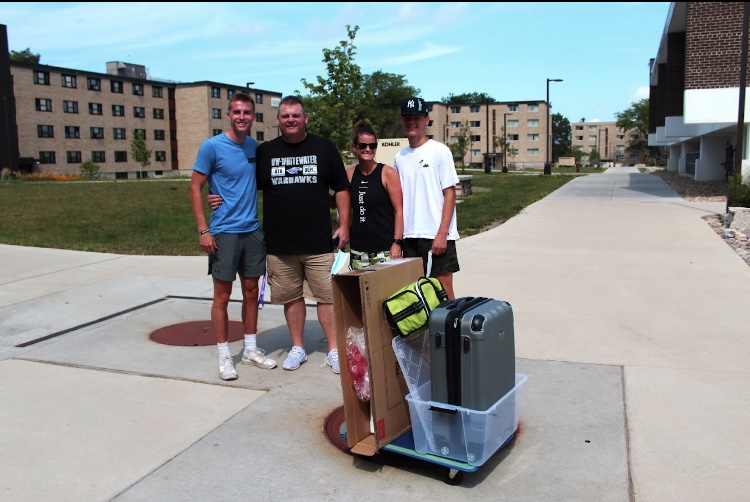 Freshman Clayton Mathwig moved into Arey Hall Aug. 29 with the help of his family from Deerfield, Wisconsin. Mathwig will be playing for UW-W Baseball this year.