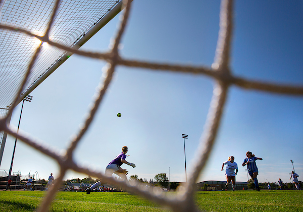 Goalkeepr Drew Antcliff, center, lines up to intercept the ball as UW-Whitewater womens soccer players sharpen their skills in an exhibition match at Fiskum Field on Thursday, August 22, 2019. The Warhawks begin their season next week, and the home opener is Wednesday, Sept. 4 at 7 p.m.
