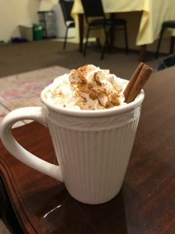 Barista Terra recommends Pumpkin Chai Latte from Deloitte Cafe in the Timothy J. Hyland Hall. They are also serving Apple Brown Sugar Macchiato for the fall season.