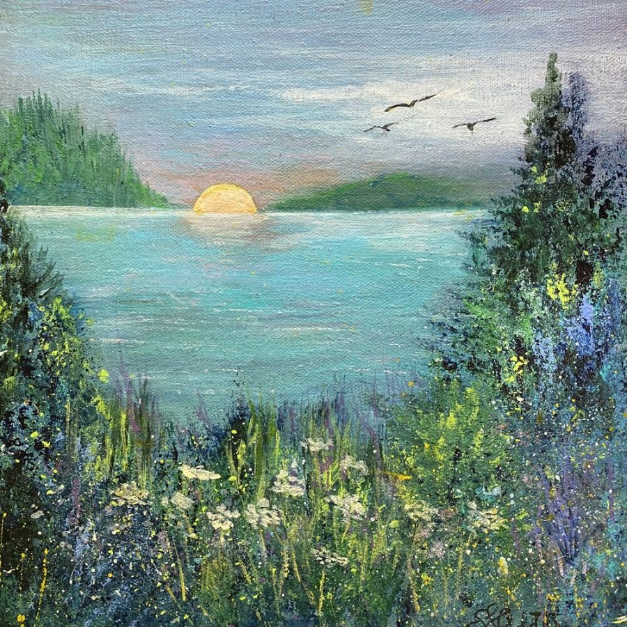 Evening Quiet by Susan Alter is a 10 x 10 acrylic painting on canvas that is on display as part of an exhibit highlighting work by members of the Geneva Lake Arts Foundation. The exhibition is hosted by the Whitewater Arts Alliance virtually and at the Cultural Arts Center gallery in Whitewater.