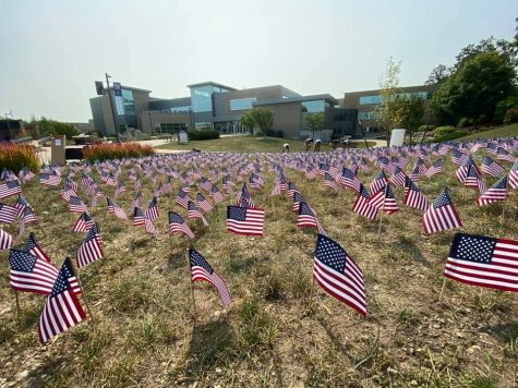 On the morning of Saturday, Sept. 11 members of the College Republicans set up 2,977 small American flags on the lawn north of the University Center to commemorate the lives of the Americans who died 20 years ago in the terrorist attacks Sept., 11 2001.
