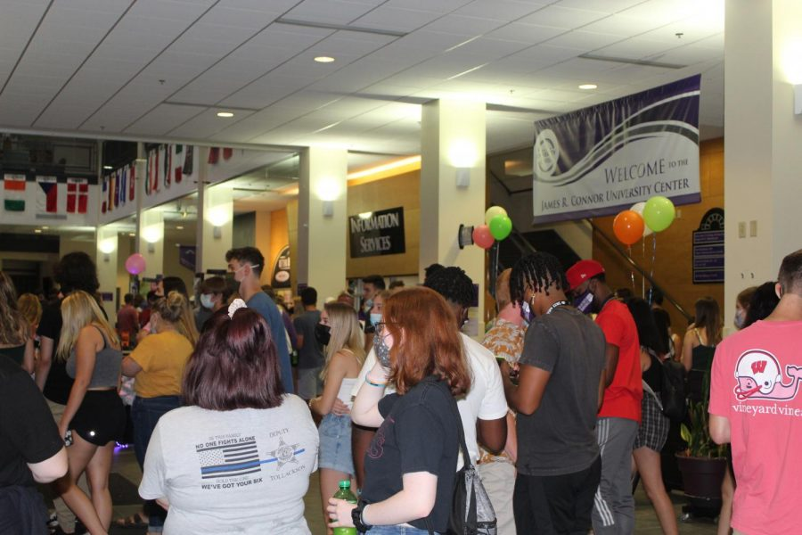 Students gather in the University Center on Monday, Aug. 30 to celebrate Glow Night.
